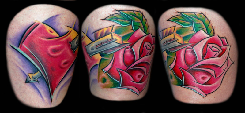 Claire Rose Heart Tattoo