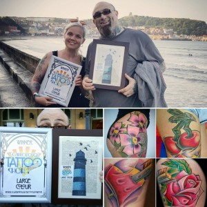 Claire and Gray Beat Large Colour Tattoo