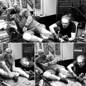 Gray Silva being tattooed by Paul Talbot